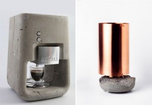 On the left- a coffee machine by Shmuel Linski, from