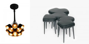 The concept of connecting in design. On the right: The collective stool, Yvonne Fehling and Jennie Peiz - Hockerbank, Special Edition KKaarrlls. On the left: 19 clay pots joint together into one lampshade, Nir Meiri, 19 Pots. The Holon Design Museum