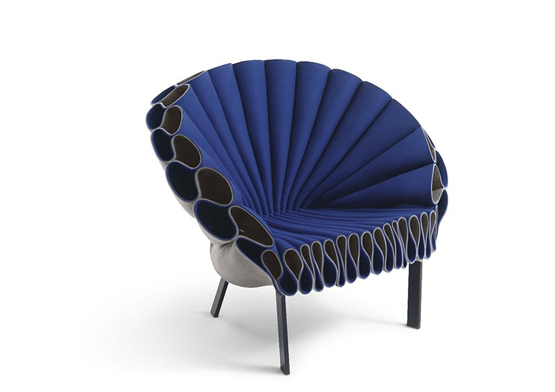 A blue clamshell chair.