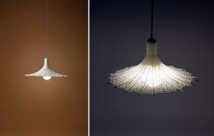 Faux lace lampshades created with a 3D printer